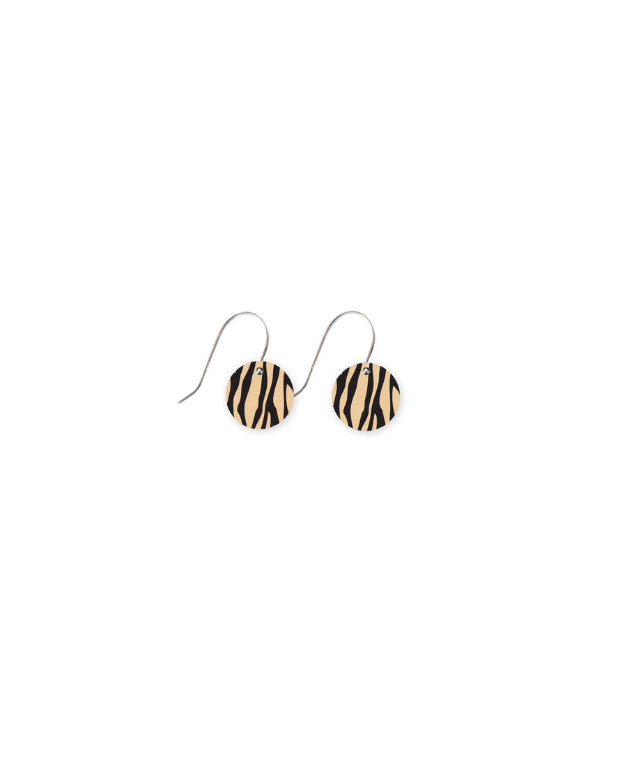 Reversible Creme Animal Print Small Circle Drop Earrings