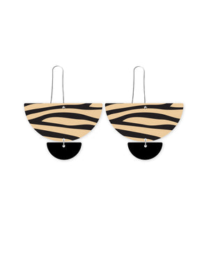Reversible Creme Animal Print Statement Long Drop Earrings