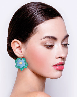 Mer Candice Perese Layered Big Flower Hoop Earrings