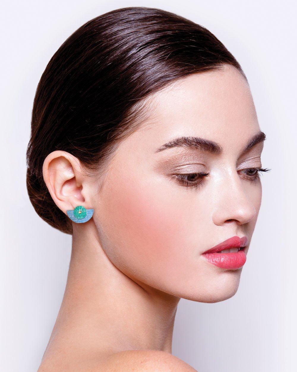 Mer Candice Perese Layered Small Moon Stud Earrings