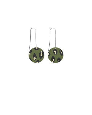 Khaki Leopard Circle Long Drop Earrings