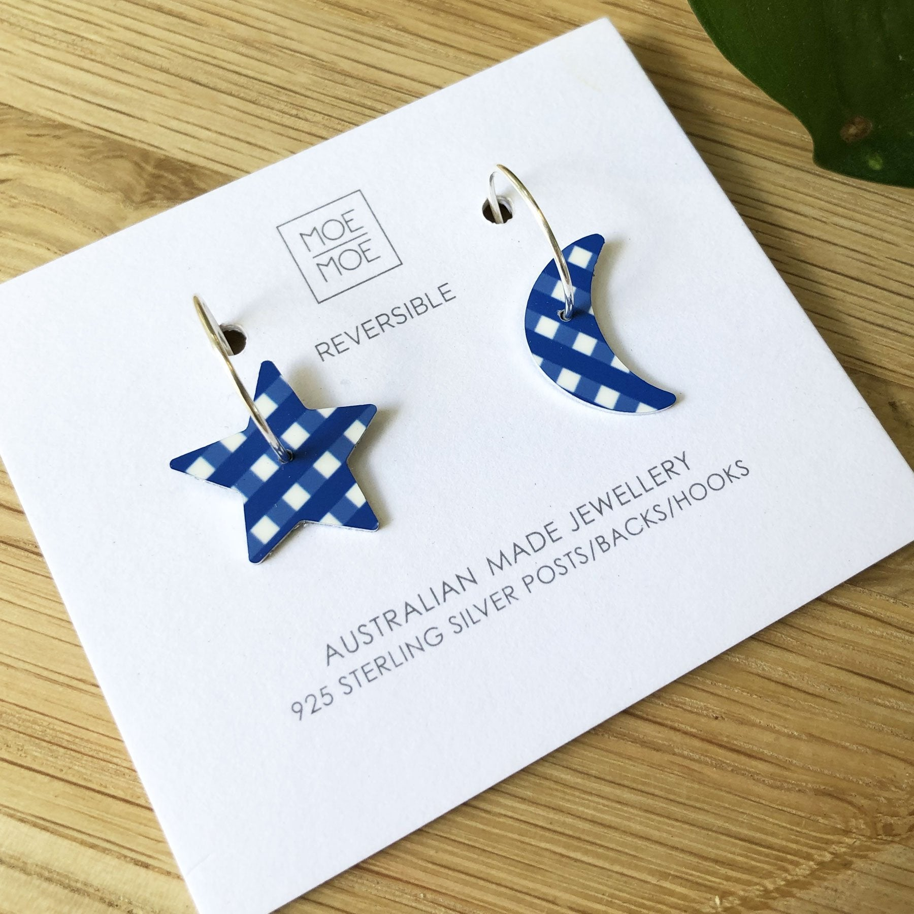 Summer Cobalt Gingham Medium Star Moon Hoop Earrings