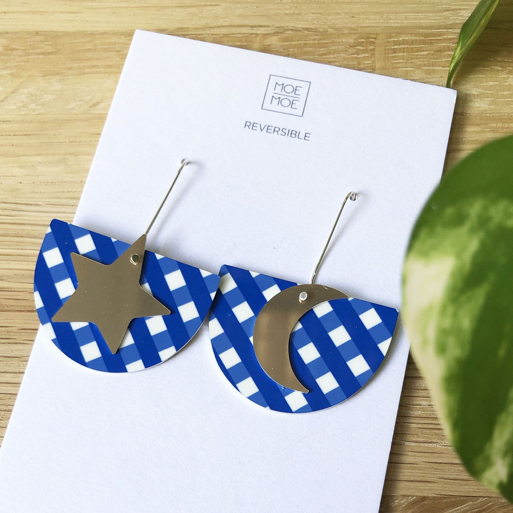 Summer Cobalt Gingham Star Moon Bell Long Drop Earrings