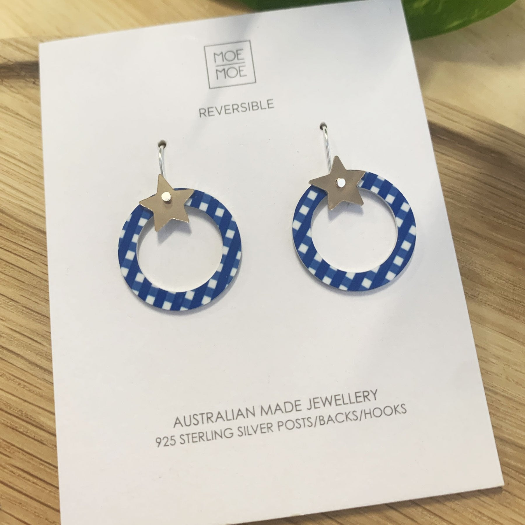 Summer Cobalt Gingham Star Outline Circle Drop Earrings