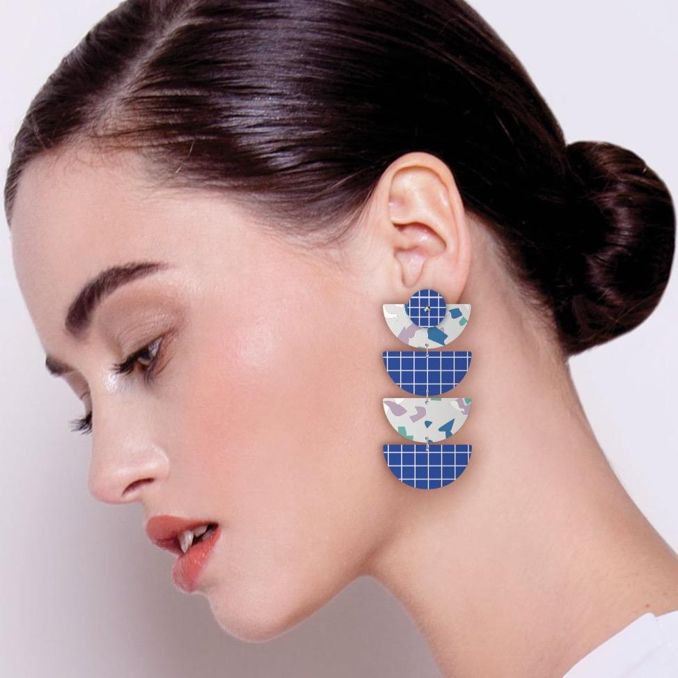 Cool Tones Terrazzo Grid Layered Quad Moon Drop Earrings