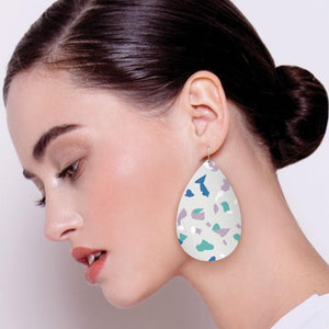 Cool Tones Terrazzo Big Tear Drop Earrings