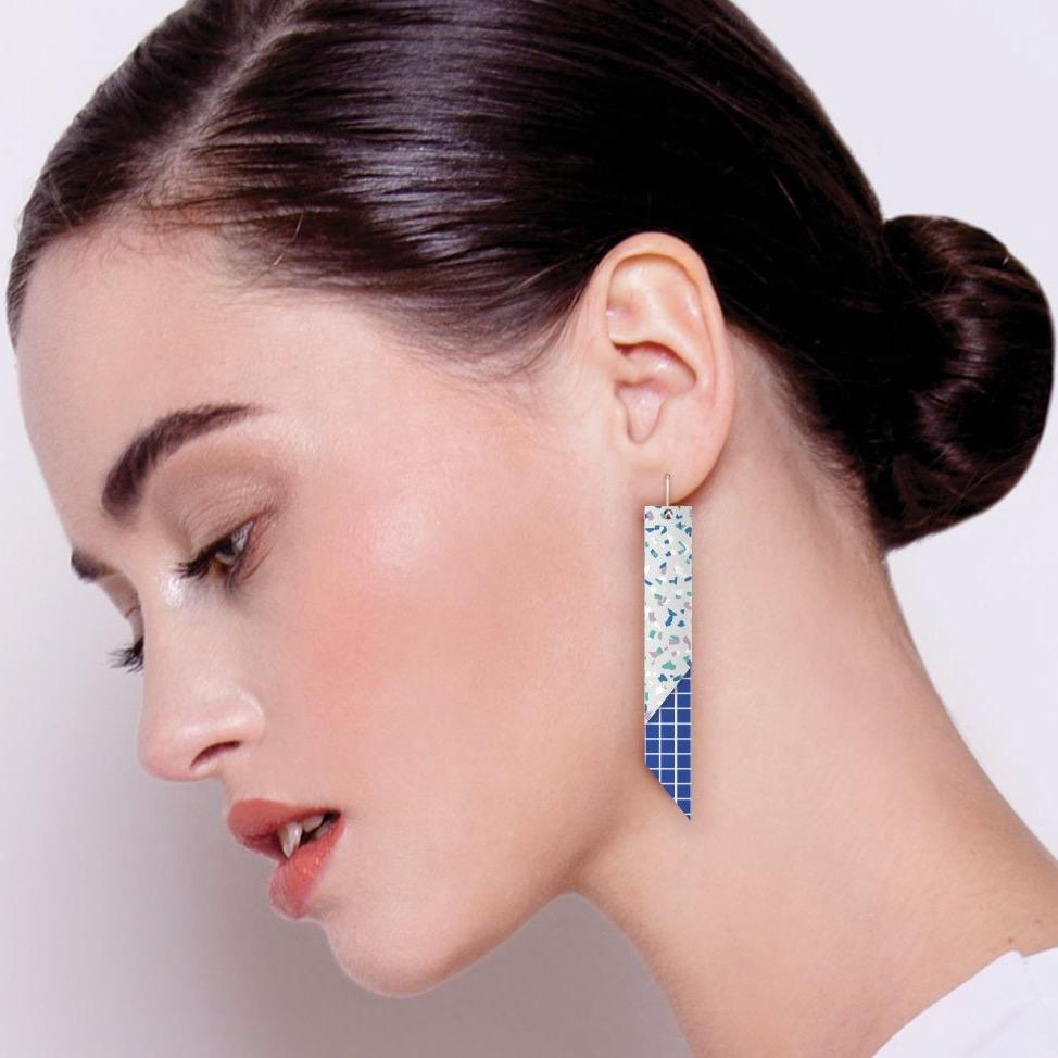 Cool Tones Terrazzo Grid Layered Angled Bar Drop Earrings