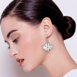 Cool Tones Terrazzo Pagoda Long Drop Earrings