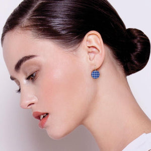 Cool Tones Grid Small Circle Drop Earrings