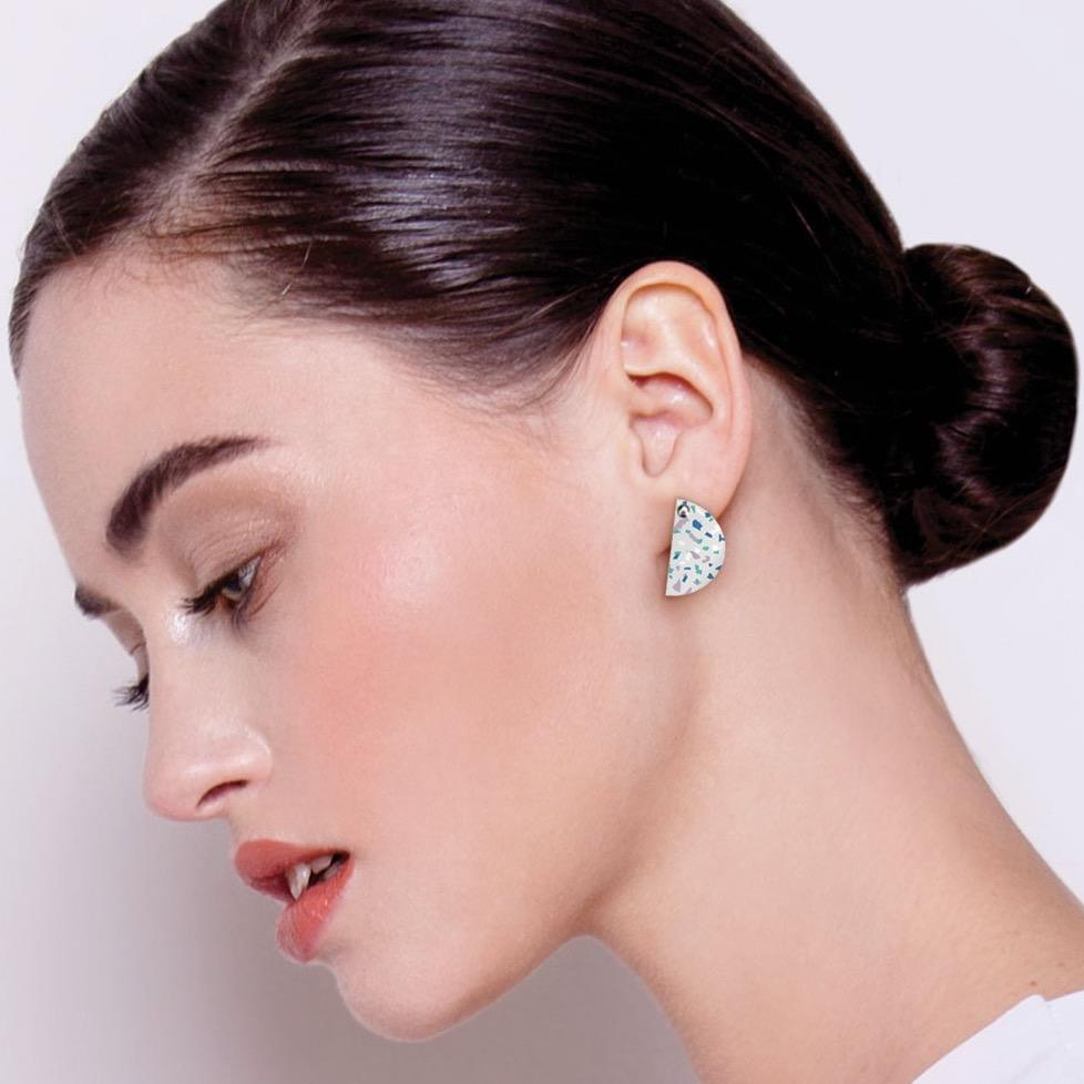 Cool Tones Terrazzo Small Wedge Stud Earrings