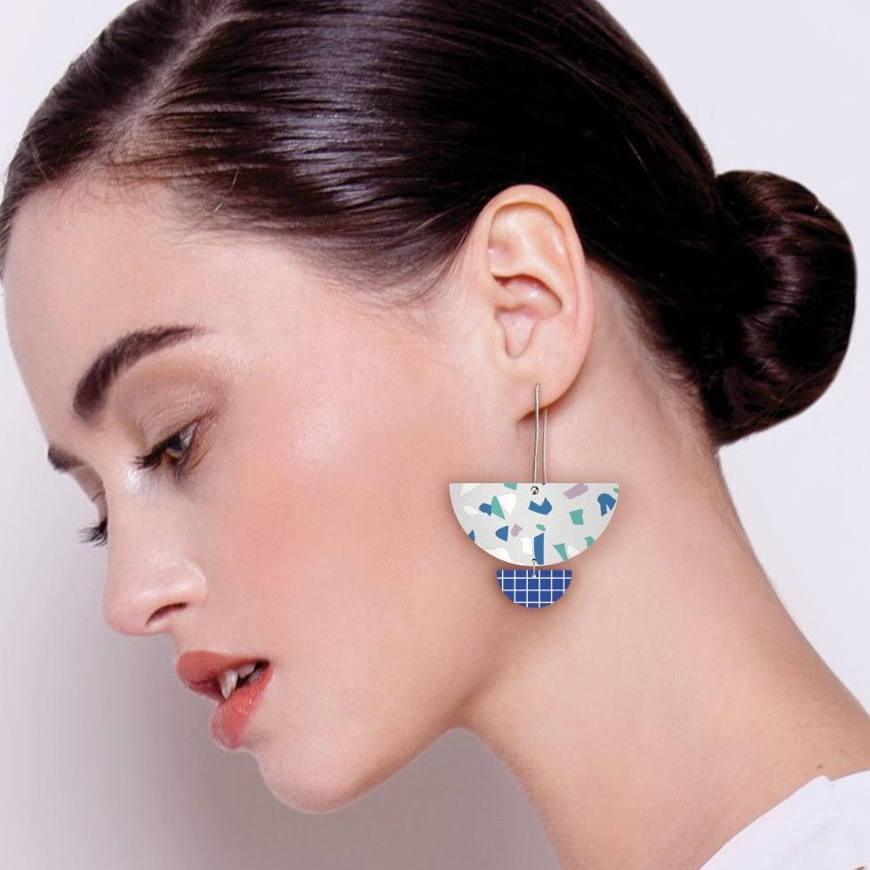 Cool Tones Terrazzo Grid Statement Long Drop Earrings