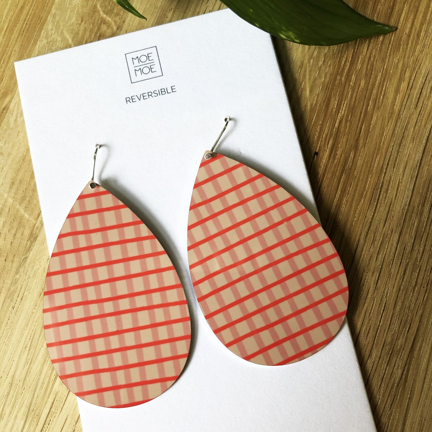 Summer Coral Abstract Grid Big Tear Drop Earrings