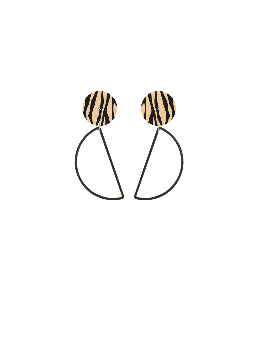 Creme Animal Hanging Moon Stud Earrings