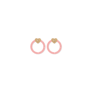Date Night Circle Outline Heart Stud Earrings