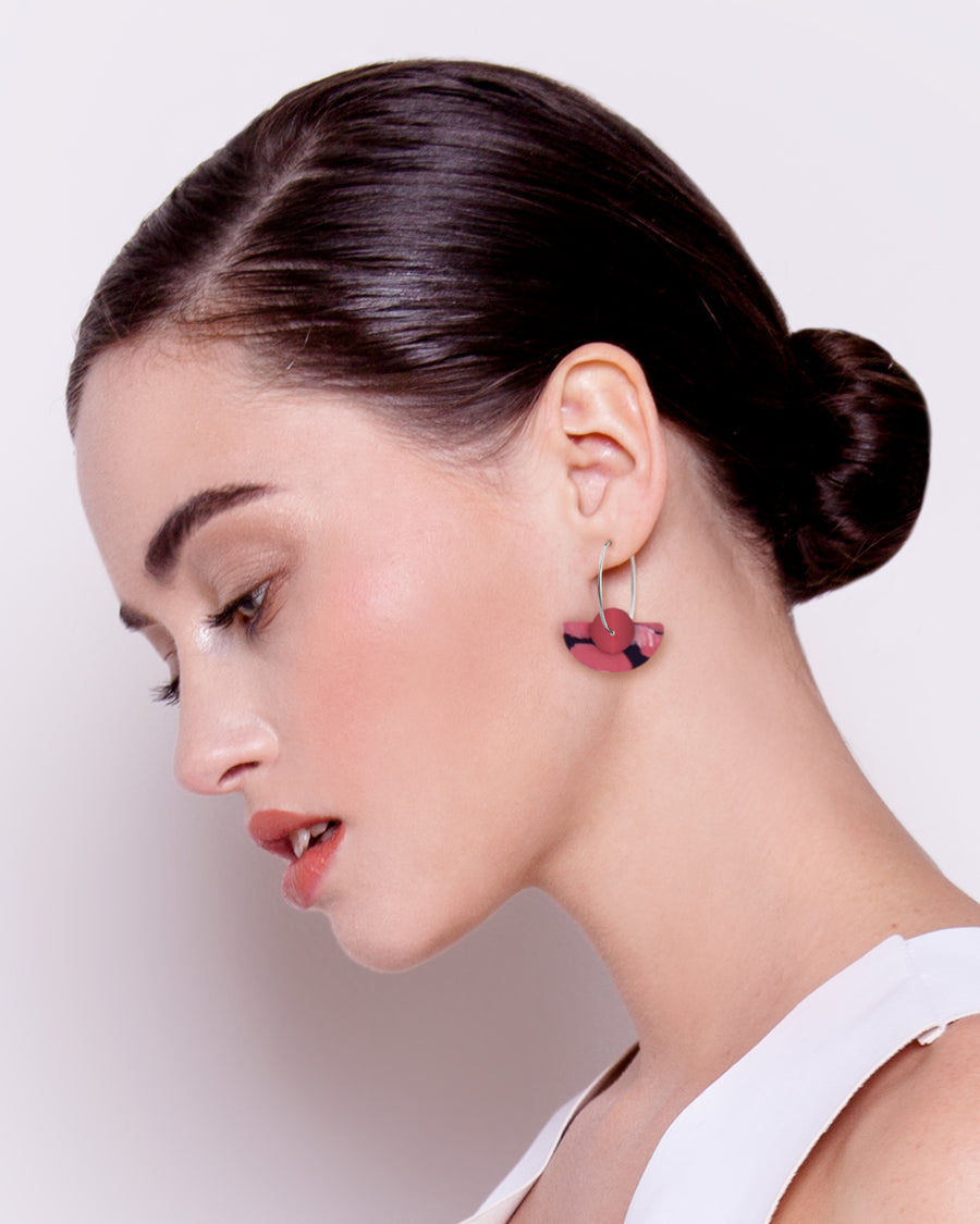 Dreaming Miimi and Jiinda Layered Medium Moon Hoop Earrings