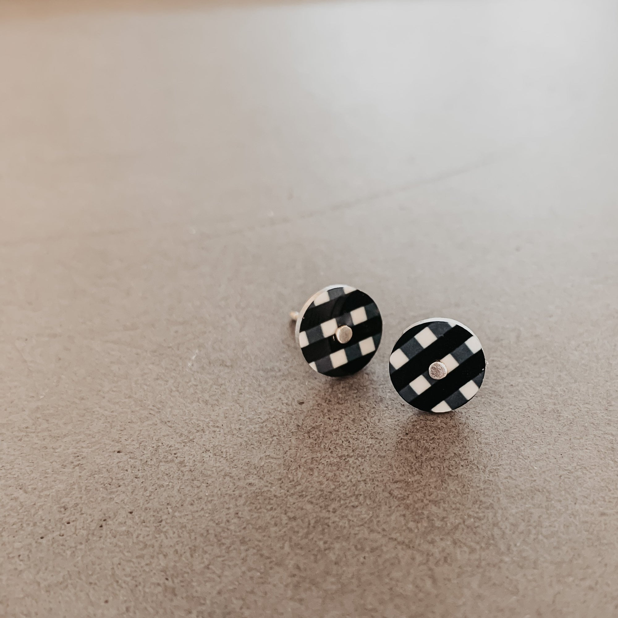 Ebony Gingham Mini Circle Stud Earrings