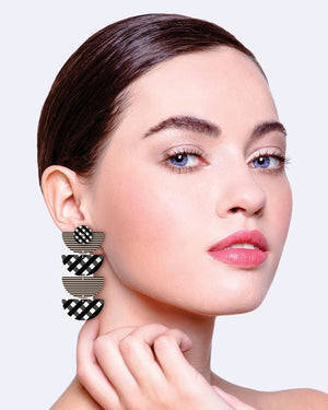 Ebony Striped Gingham Layered Quad Moon Drop Earrings