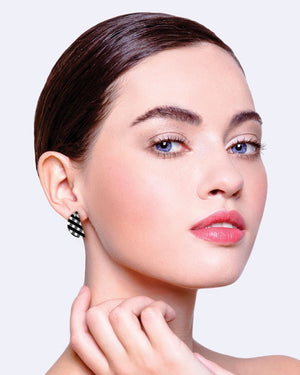 Ebony Gingham Small Wedge Stud Earrings