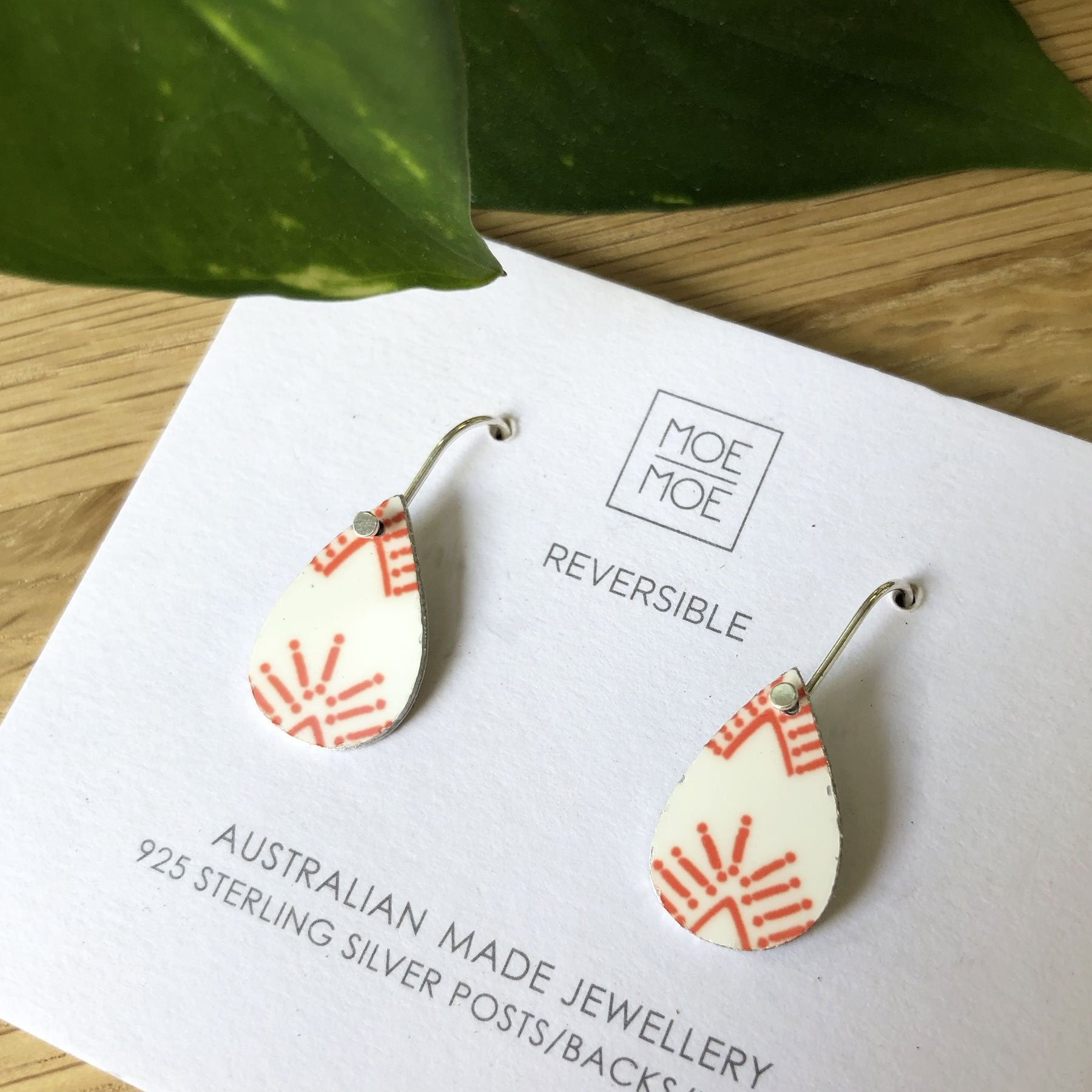 Summer Festive Coral Mini Tear Drop Earrings