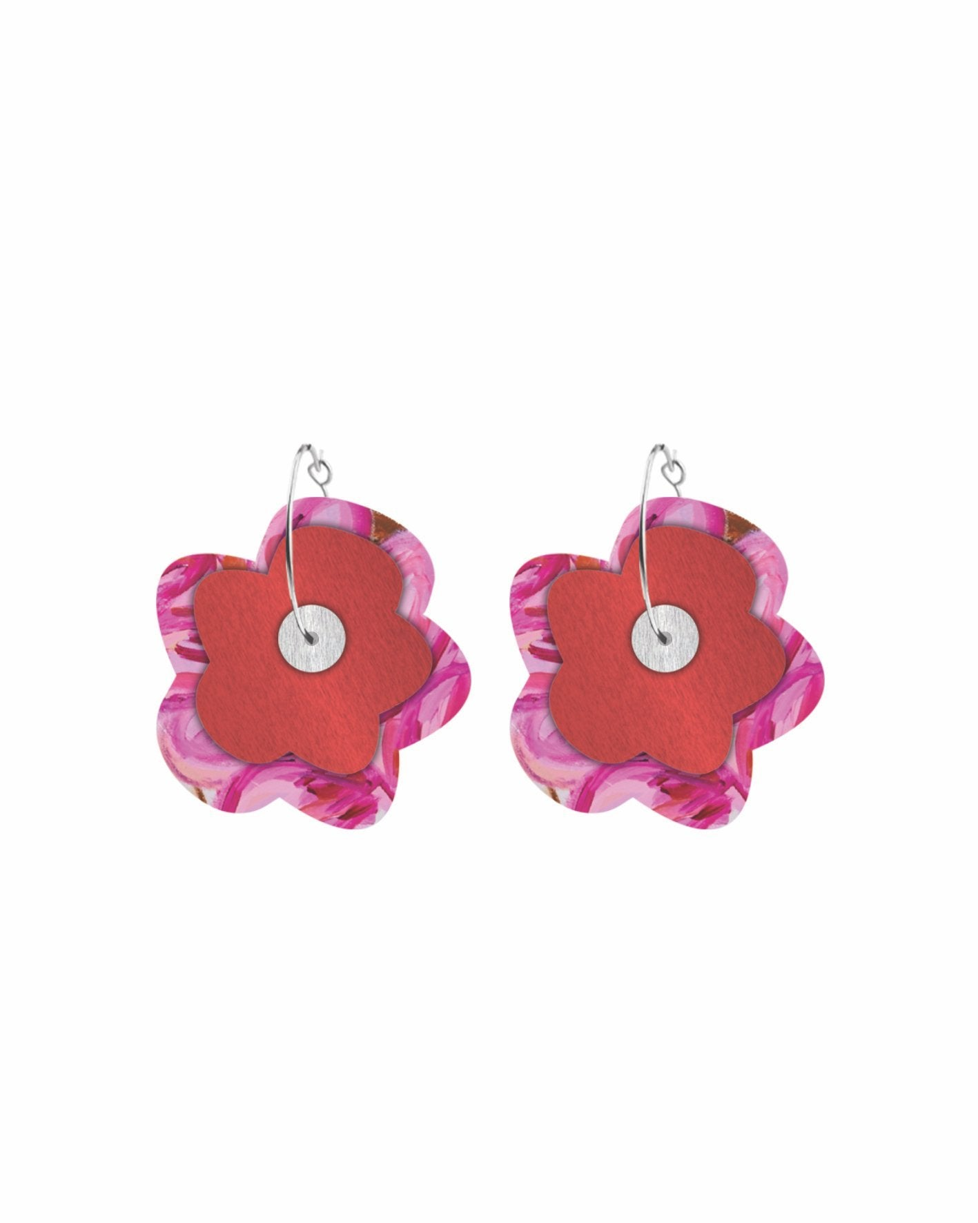 Flossy Kate Mayes Layered Big Flower Hoop Earrings
