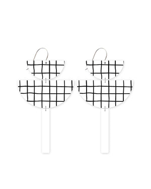 Grid Pattern Chandelier Statement Drop Earrings