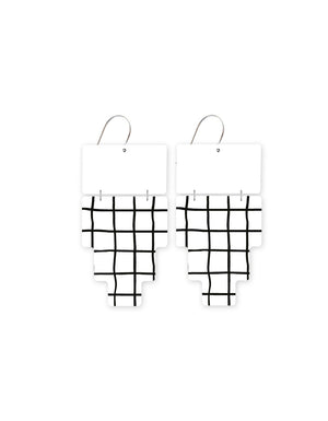 Grid Pattern Inca Double Drop Earrings