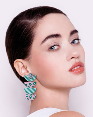 Green Lined Leopard Layered Quad Moon Drop Earrings