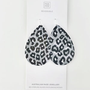 Grey Leopard Big Tear Drops - OUTLET