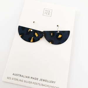 Navy Leopard Medium Moon Drops - OUTLET