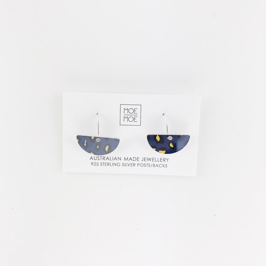 Navy Leopard Small Moon Drops - OUTLET