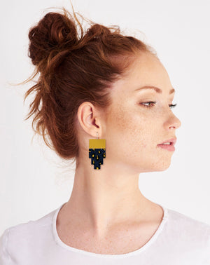 Navy Animal Print Inca Double Drop Earrings