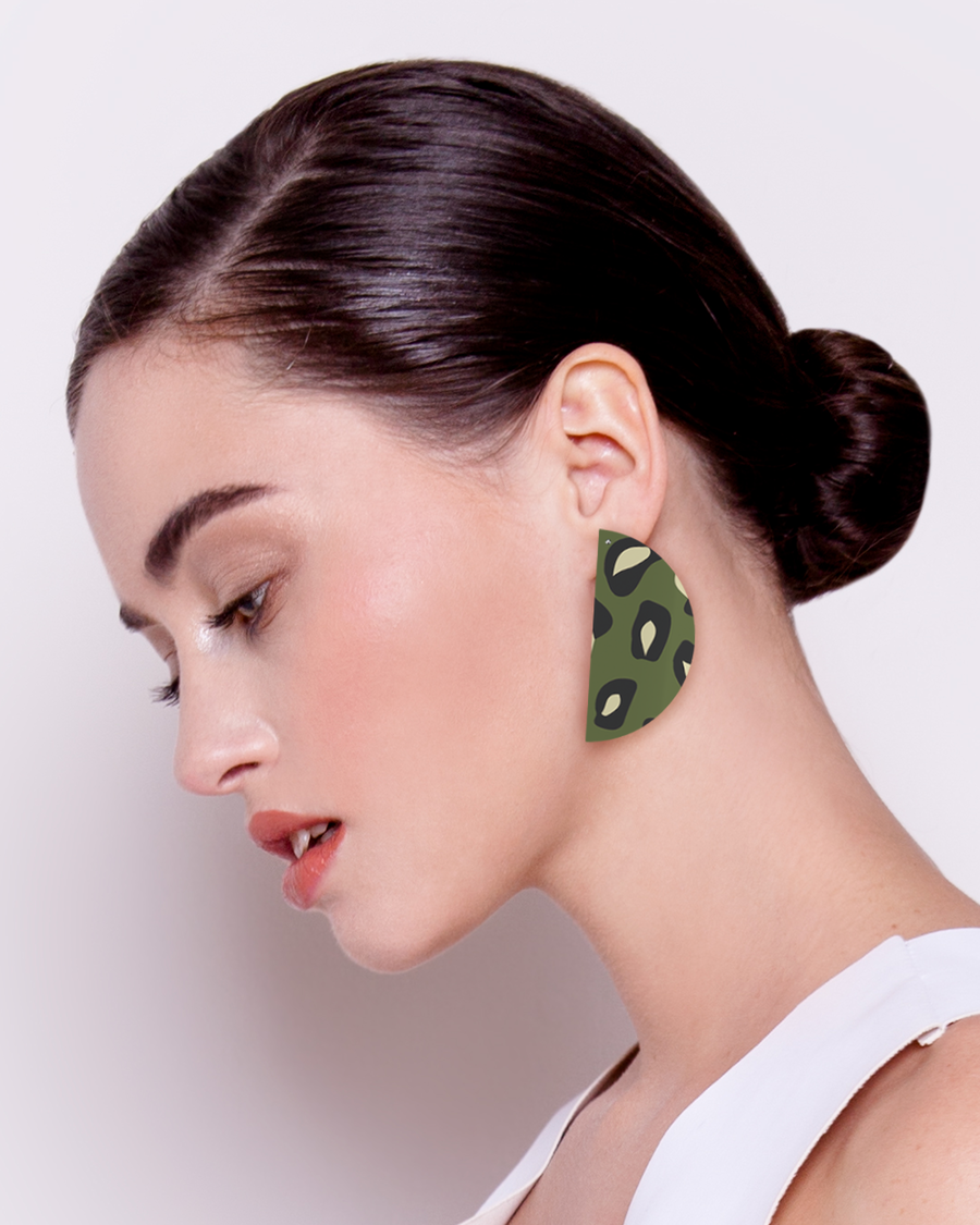 Khaki Leopard Big Wedge Stud Earrings