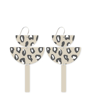 Latte Animal Print Chandelier Statement Drop Earrings
