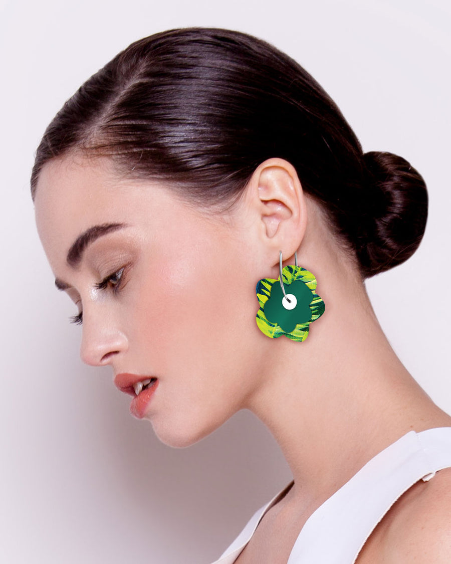 Earth Joan Blond Layered Big Flower Hoop Earrings