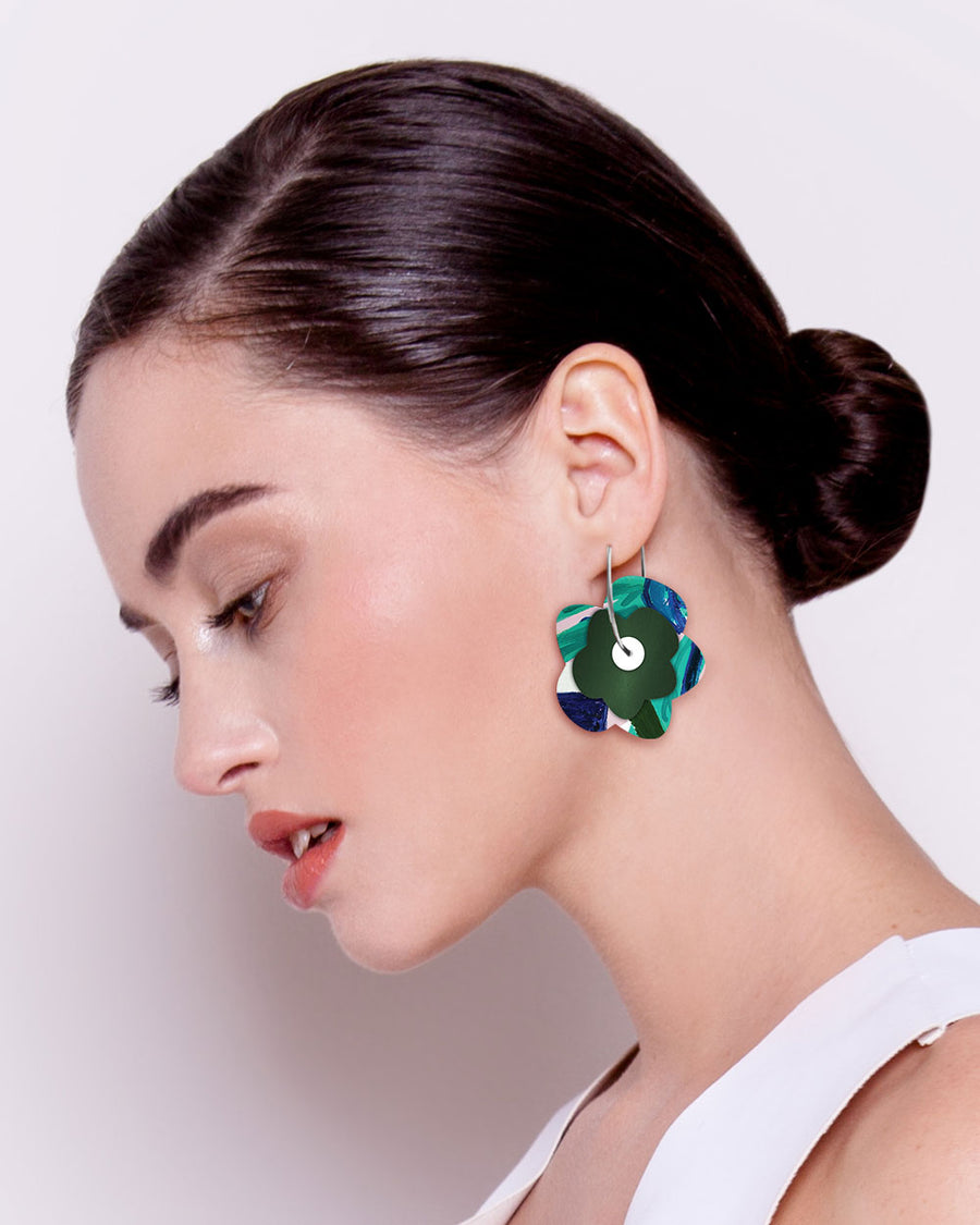 Hero Kate Mayes Layered Big Flower Hoop Earrings