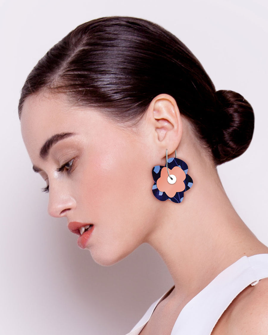 Water Joan Blond Layered Big Flower Hoop Earrings