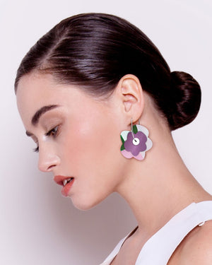 Wild Kate Mayes Layered Big Flower Hoop Earrings