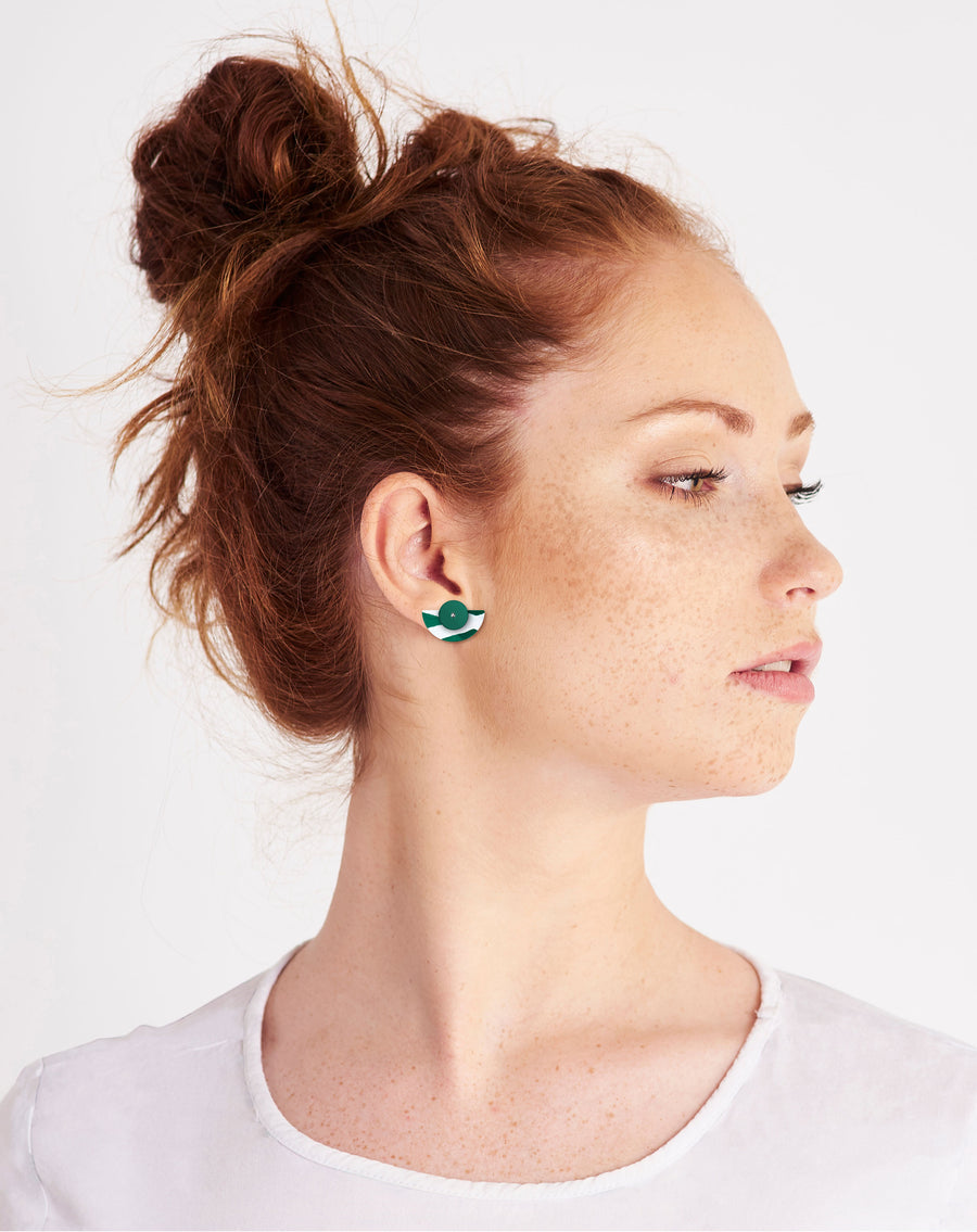 Reversible Earth Joan Layered Small Moon Stud Earrings