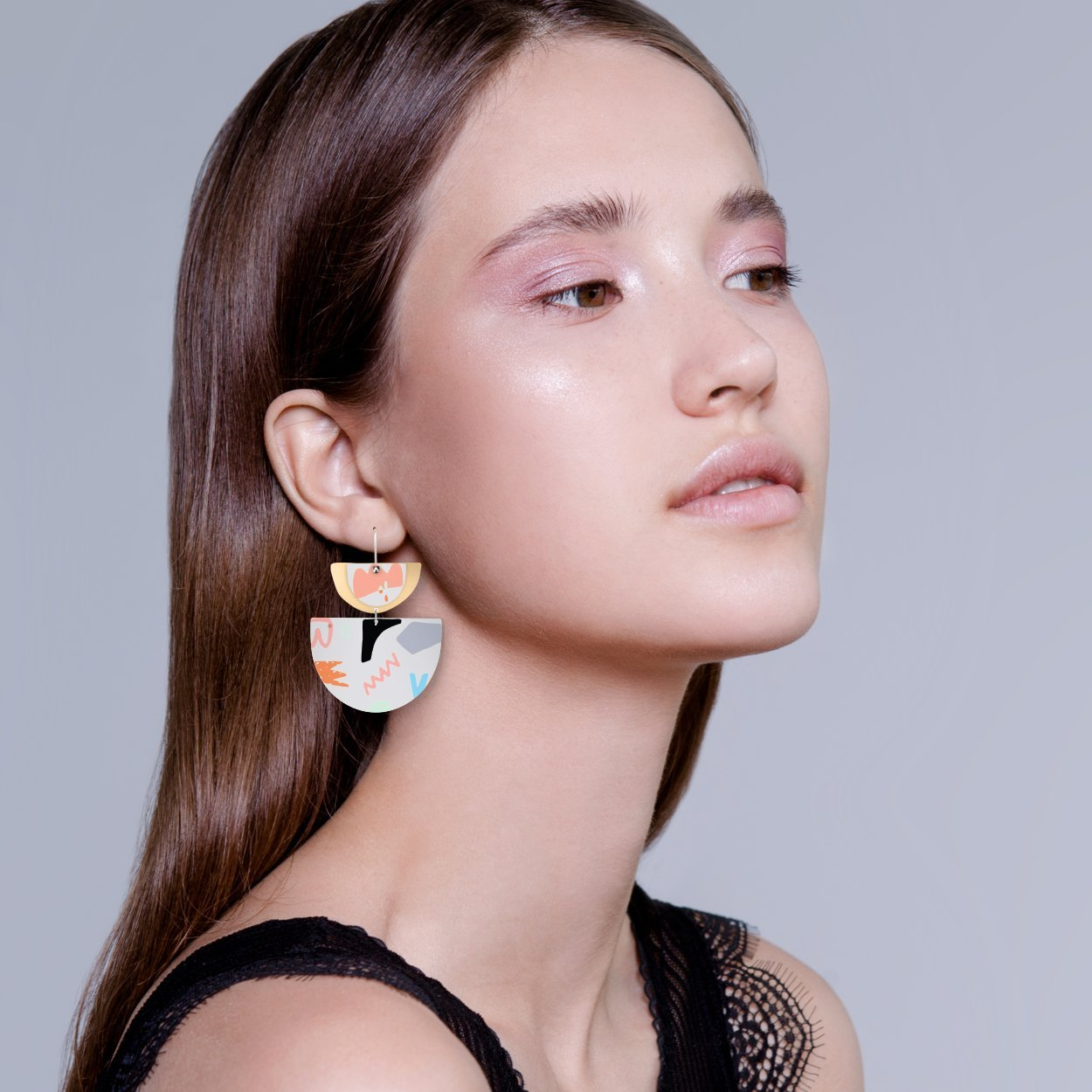 Michael Black Layered Double Bell Drop Earrings