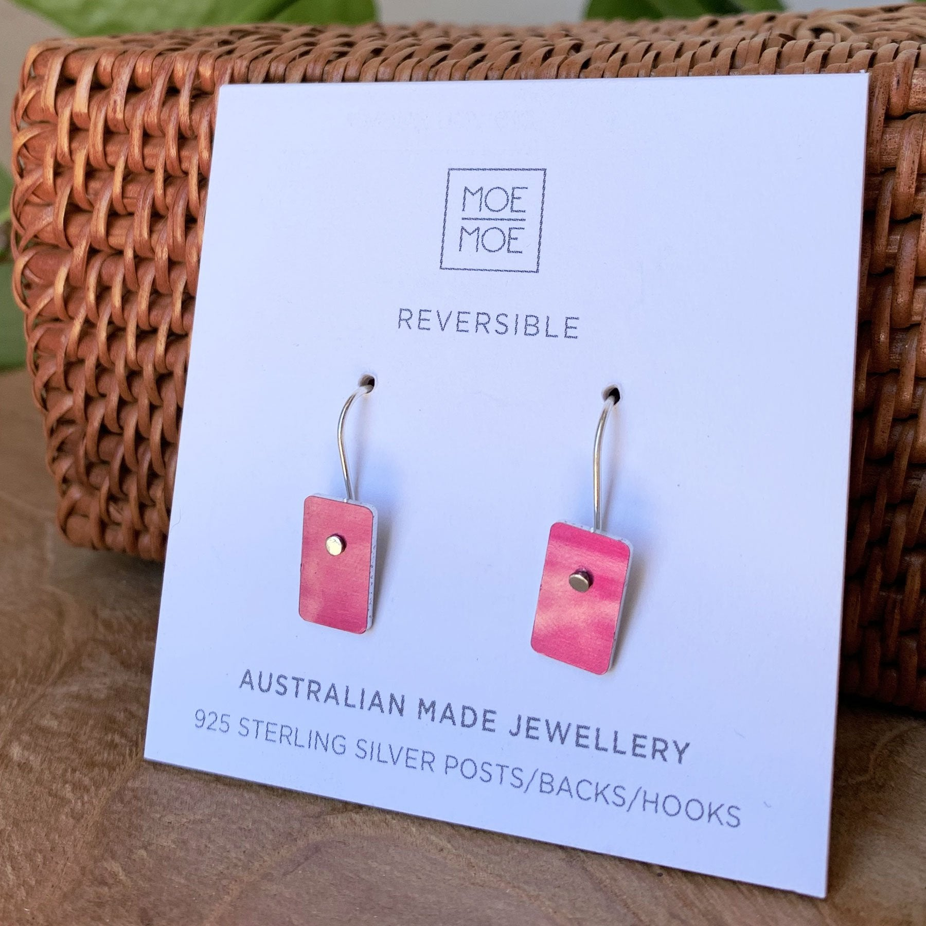 Metallic Dreaming Pink Mini Rectangle Drop Earrings