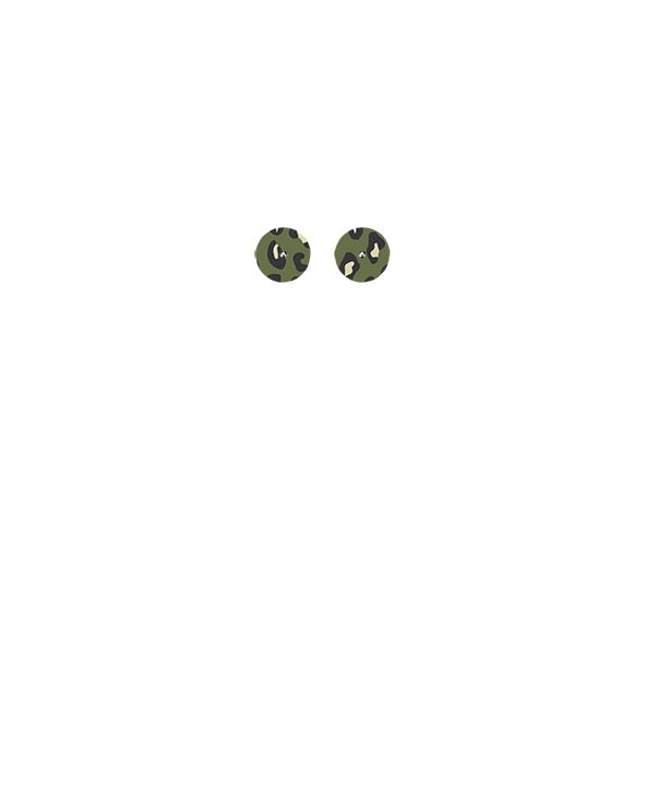 Khaki Leopard Mini Circle Stud Earrings