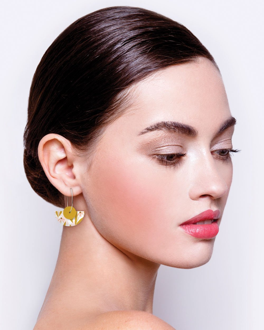 Marguerite Bloom Myriam Van Neste Layered Medium Moon Hoop Earrings