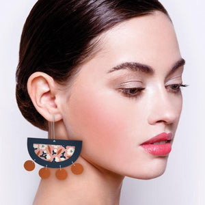 Peach Blossom Myriam Van Neste Layered Moon Outline Long Drop Earrings