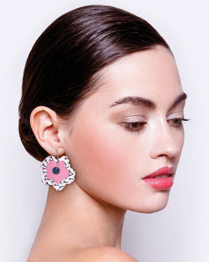 Tulip Bud Myriam Van Neste Layered Big Flower Hoop Earrings