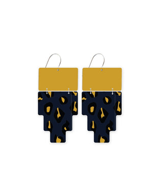 Reversible Navy Animal Print Inca Double Drop Earrings