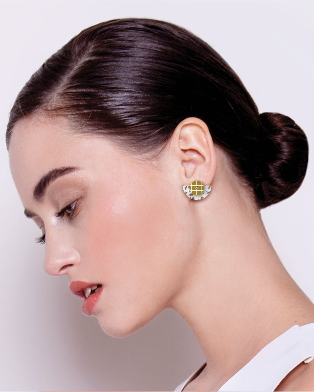 Neutral Tones Terrazzo Grid Layered Small Moon Stud Earrings