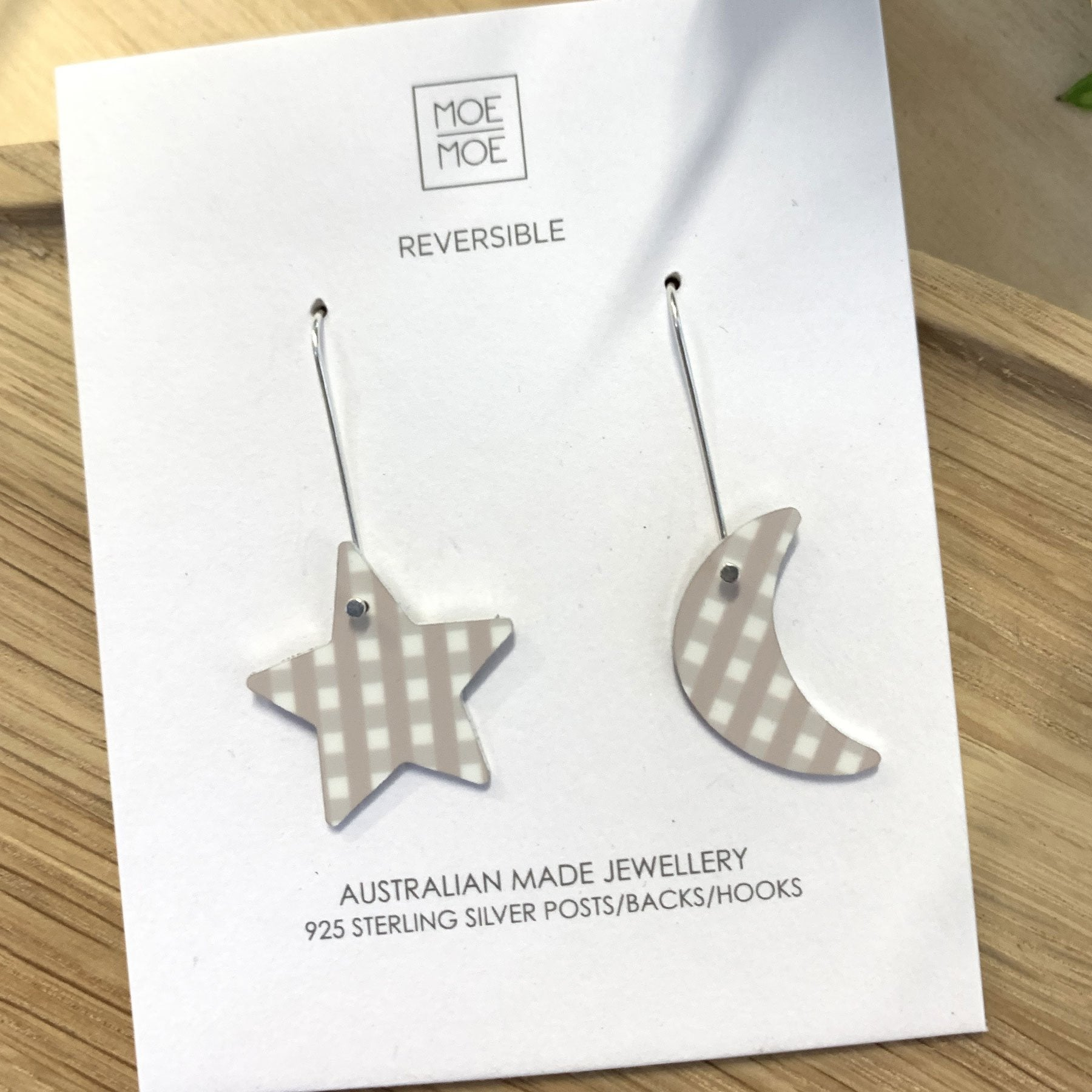 Summer Oat Gingham Star Moon Long Drop Earrings