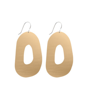 Mirrored Gold Signature Organic Shape Drop Earrings