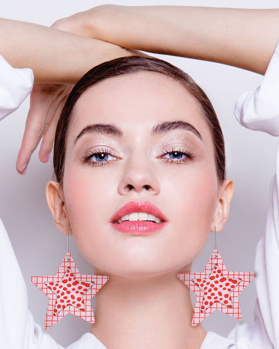 SPECIAL EDITION Speckles Layered Mega Star Long Drop Earrings