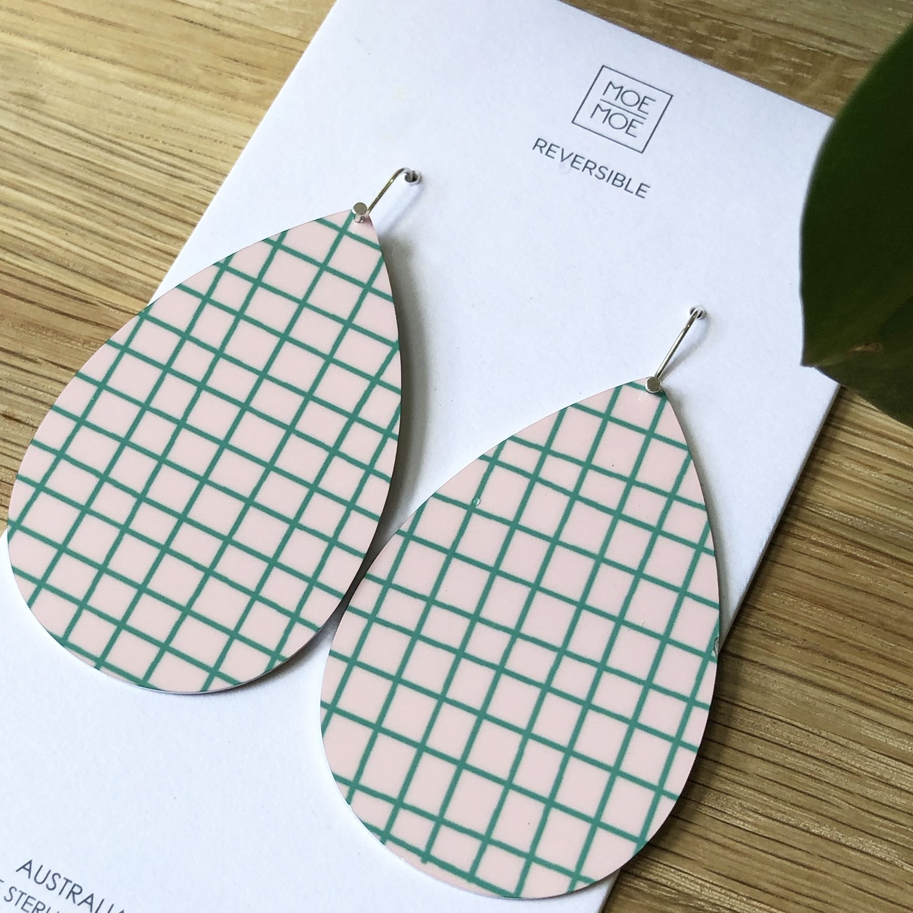 Summer Pink and Green Grid Big Tear Drop Earrings